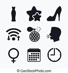 Wedding dress icon. Women shoe sign. Perfume.