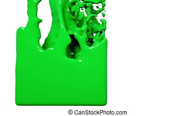 green liquid fills up a container - close-up view of green...