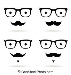 face man with mustache set in black illustration