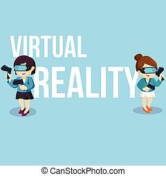 Playing virtual reality at city