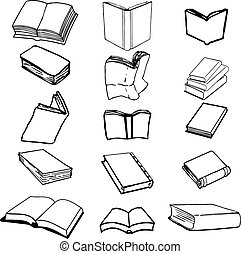 Set of books comic - Books on isolated background, vector...