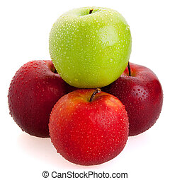 3 red and 1 green apples - Big red and green juicy sweet...