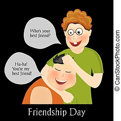 Friendship Day. International holiday. Two best friends....