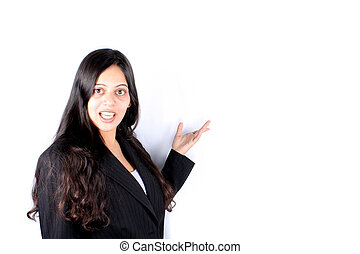Business Explanations - An Indian businesswoman explaining a...