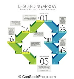 Descending Arrow Infographic - Vector illustration of...