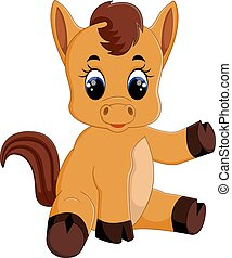Cute baby horse sitting - illustration Cute baby horse...