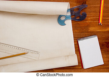 Roll of paper drawings - Roll of paper for drawings on a...