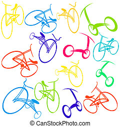 Background with bikes - Hand drawn bicycle Doodles
