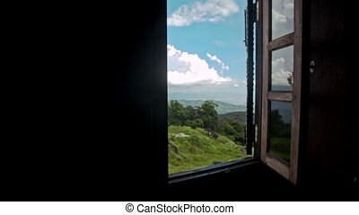 Camera Moves to Open Window Shows Hilly Landscape - camera...