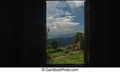 Camera Widens Window Shows Landscape through - camera widens...