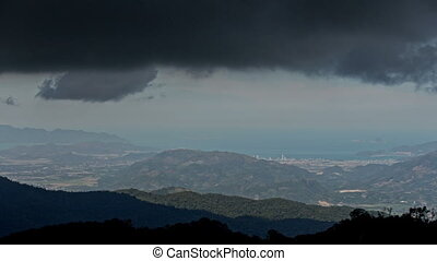 Dark Rainy Cloud Motion above Hills Resort City Ocean -...
