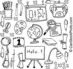 Vector stock education doodles on white backgrounds