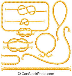 Rope frames and knots isolated on the white