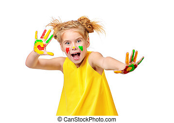 color imagination - Cute little girl with painted colorful...