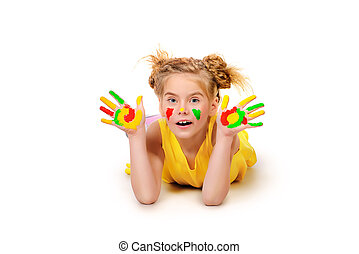 bright hobby - Cute little girl with painted colorful hands....