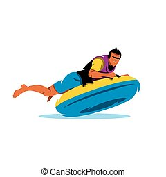 Young Man having lots of fun on rubber ring going down the water slide. Vector Cartoon Illustration.