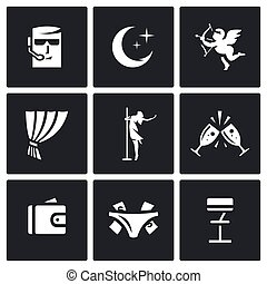 Vector Set of Strip Club Icons. Security, Night, Love,...