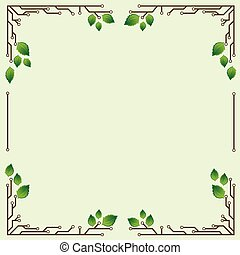 frame with birch leaves - light green background frame with...