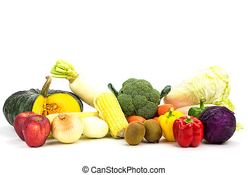 Variety fresh vegetable isolated on white background.