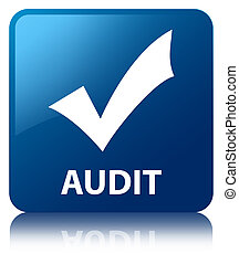 Audit validate icon blue square button