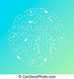 Pneumonia linear icon set