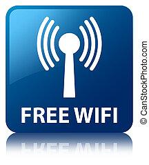 Free wifi (wlan network) blue square button