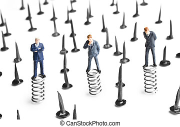 Obstacle avoidance - Businessman figurines standing on...