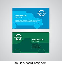 set of two business cards with cars, Canada and USA standard