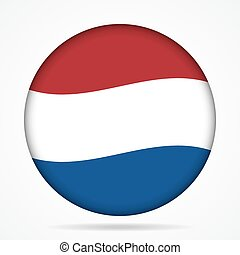 button with waving flag of Netherlands - button with waving...