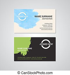 set of two business cards with stain
