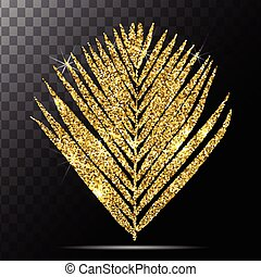 Vector illustration of golden palm leave on transparent...