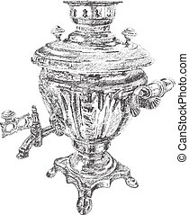 Russian samovar. vector hand drawn dotted graphic illustration