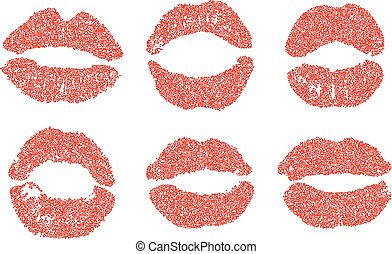 Womans lip dotted set. Girl mouths close up with red lipstick makeup. EPS vector.