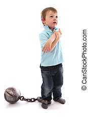 Boy With Ball & Chain around leg on white background