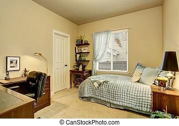 Luxury bedroom interior with green walls, carpet floor
