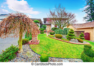 House exterior with well kept lawn and nice landscaping...