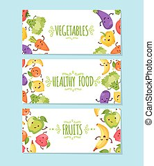Healty food cartoon representing banners - Banners set of...
