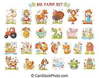 Set of vector illustrations farm animals. - Set of vector...
