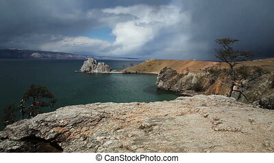 Lake Baikal. Cape burkhan - Lake Baikal in stormy day....