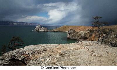 Lake Baikal. Cape burkhan - Lake Baikal in stormy day....