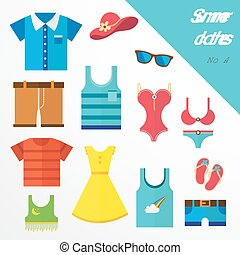 set of clothes for men and women. Fashion icons. Vector...