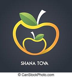 Happy new year, Shana Tova in Hebrew, Jewish holiday. Apples...