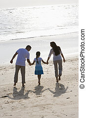 Rear view of family holding hands walking on beach - Rear...