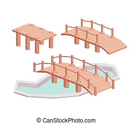 bridge wood isometric isolated icon design, vector...