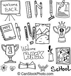 Vector school object doodles