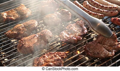 Barbecue grill with evening light