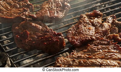 Closeup of meat on BBQ grill - Closeup of meat on barbecue...
