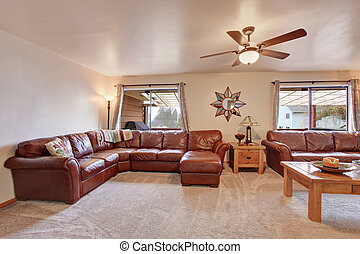Cozy living room with leather sofa