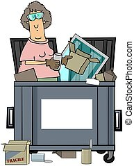 Woman Dumpster Diver - This illustration depicts a woman...