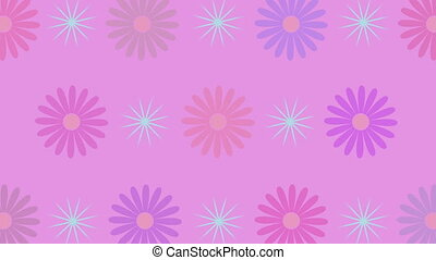 Rotating flowers and sparkles, 4K - Abstract rotating...